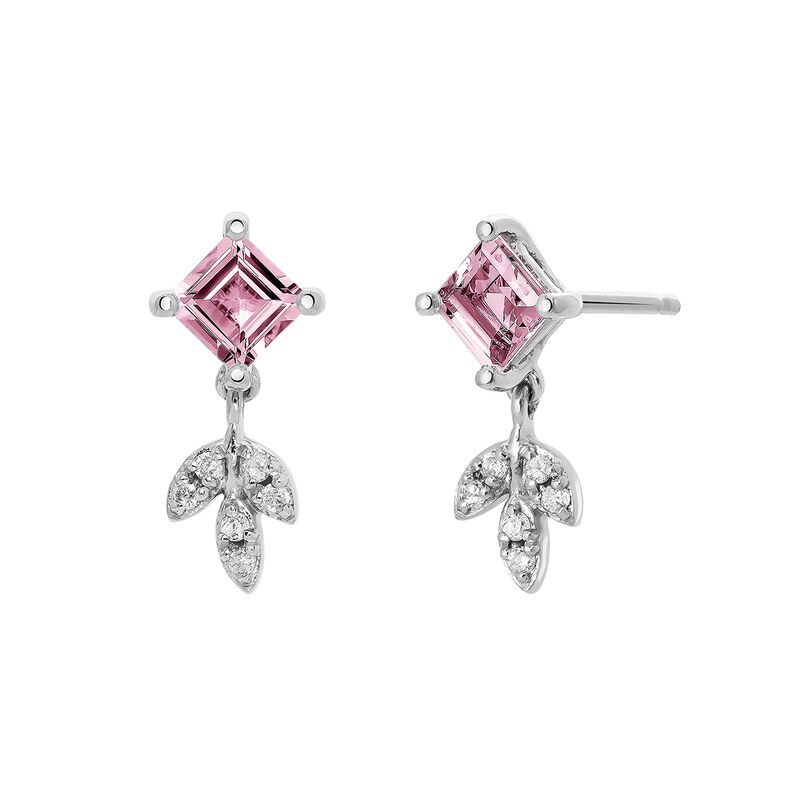 Silver Pink Tourmaline Drop Earrings, J03714-01-PTU, hi-res
