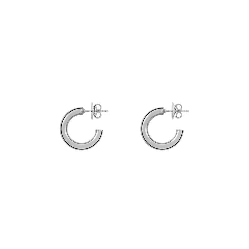 Pendientes aro liso pequeño plata, J01585-01, hi-res