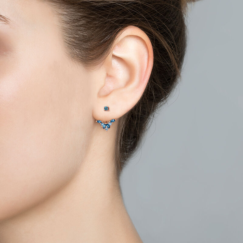 Rose gold plated ear jackets with topaz, J03422-03-LBSBSK, hi-res