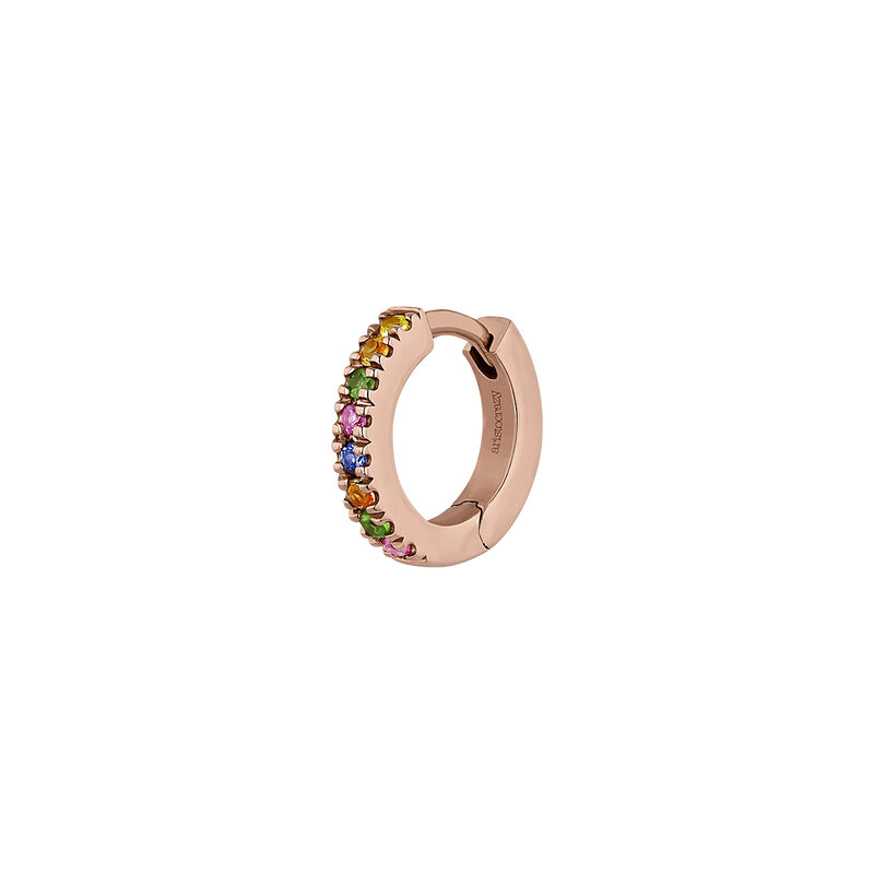 Rose gold multicolor sapphire and tsavorite hoop earring, J04333-03-MULTI-H, hi-res