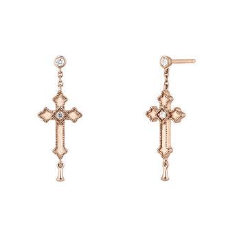 Pendientes cruz mediana colgante topacios plata recubierta oro rosa, J04228-03-WT, hi-res