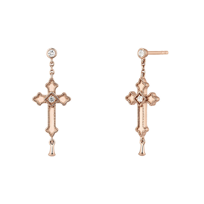 Rose gold plated medium-size cross drop earrings with topaz, J04228-03-WT, hi-res