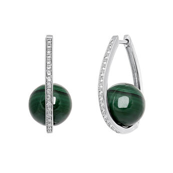 Silver Malachite Oval Earrings, J03508-01-WT-MA, hi-res