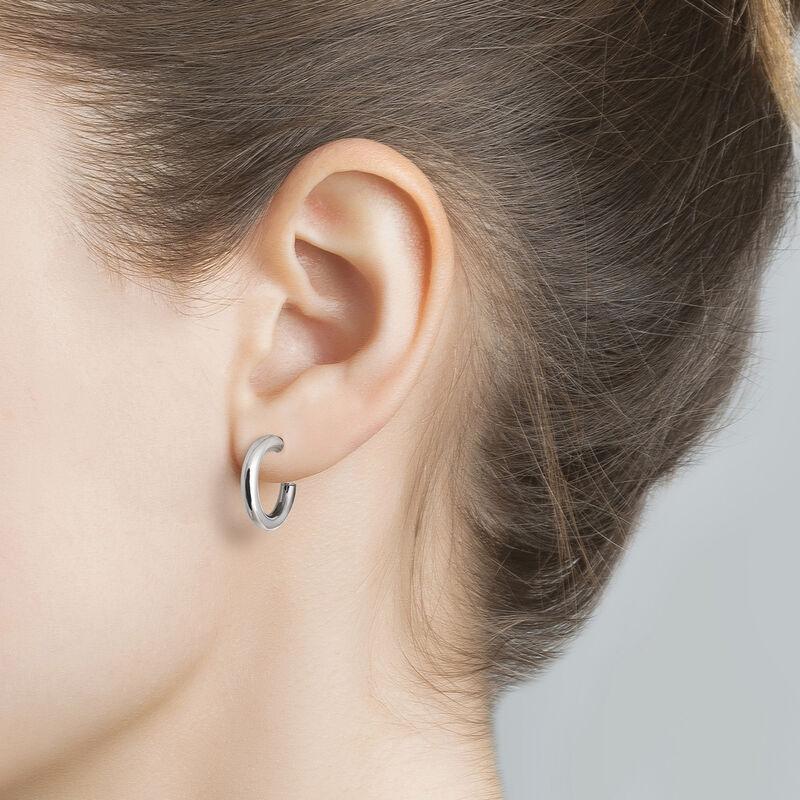 Silver small smooth hoop earrings, J01585-01, hi-res