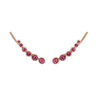 Rose gold plated rhodolite garnet climber earrings, J03669-03-RO, hi-res