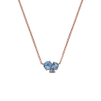 Collier trois pierres or rose, J06169-03-LB, hi-res