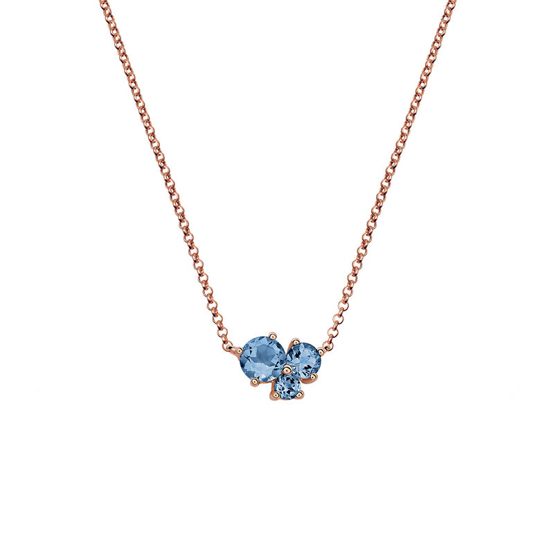 Rose Gold Three Gemstone Necklace, PINKGOLDPLATED STERLING SILVER, hi-res