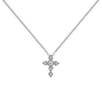 Collier croix large diamant or blanc 0,045 ct, J03927-01, hi-res