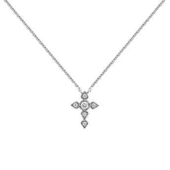 Long white gold diamond cross necklace 0.045 ct, J03927-01, hi-res