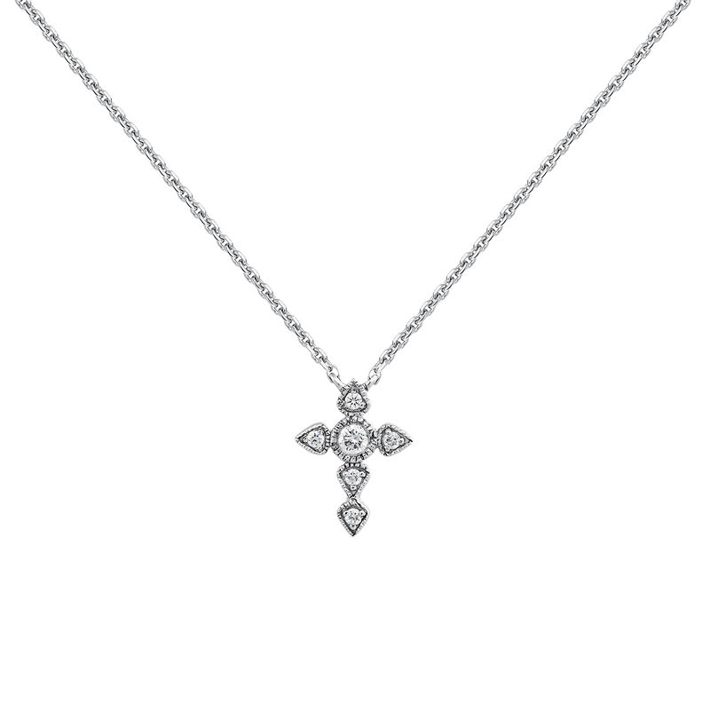 Collier croix large diamant or blanc 0,045 ct