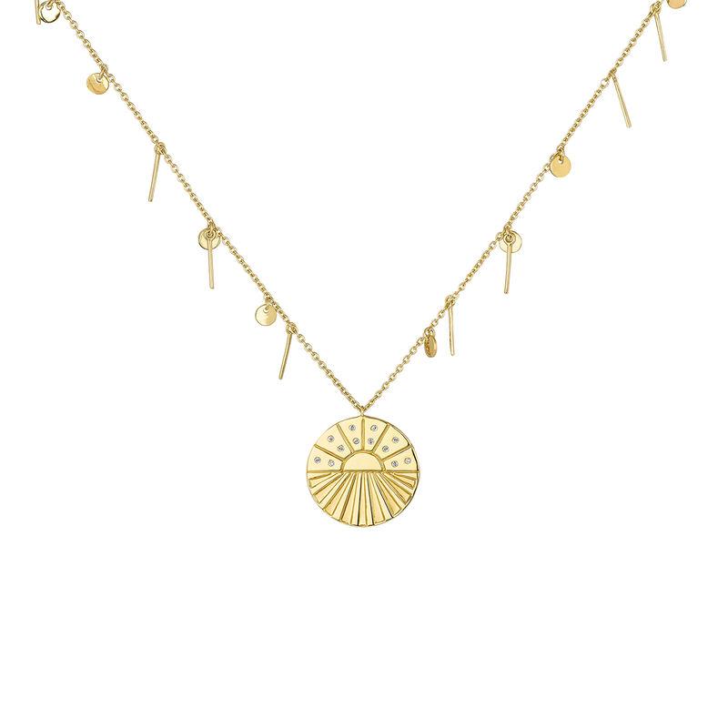 Medal necklace with pendants gold, J04138-02-WT, hi-res