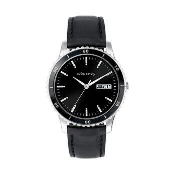 Montre Shibuya bracelet en cuir cadran noir, W43A-STBLBL-LEBL, hi-res