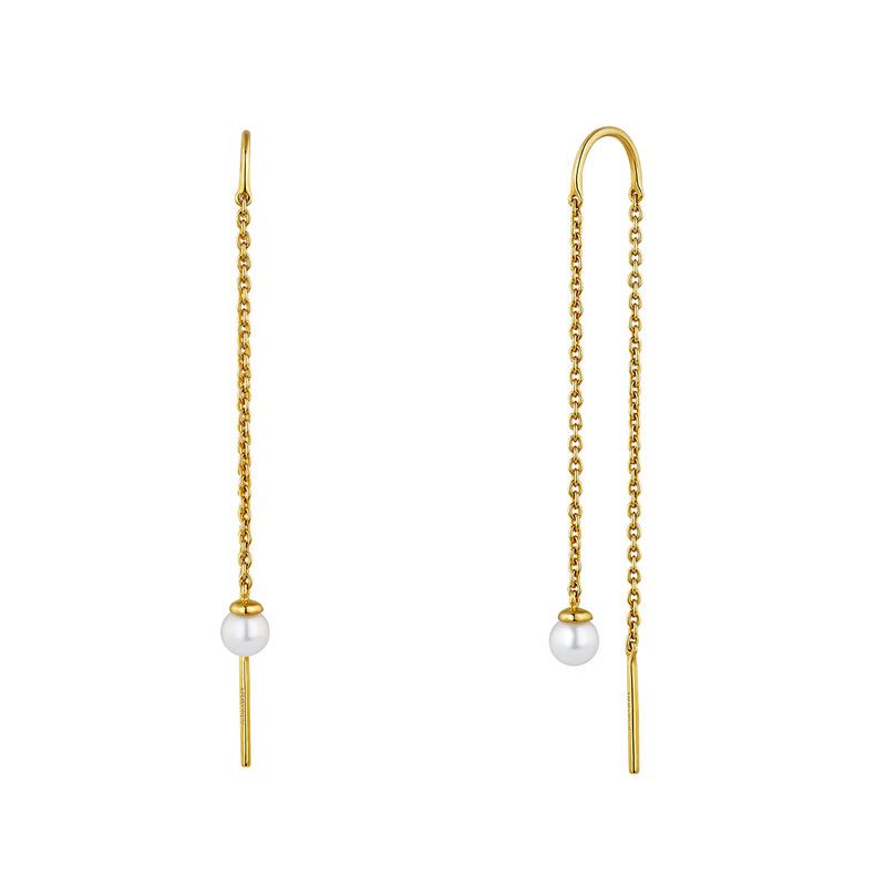 Gold plated silver pearl pendant earrings, J04733-02-WP, hi-res
