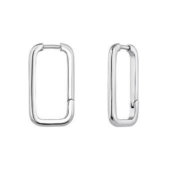 Silver rectangular earrings, J04644-01, hi-res