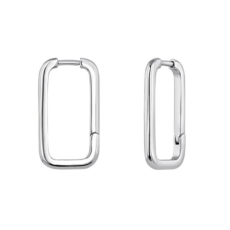 Rectangular silver earrings, J04644-01, hi-res