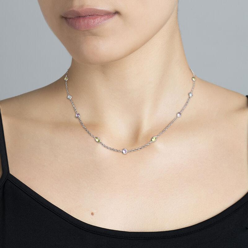 Silver gemstone mix necklace, J03765-01-AMPESB, hi-res