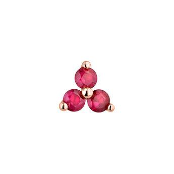 Pendiente mediano trébol rubí oro rosa, J04348-03-RU-H, hi-res