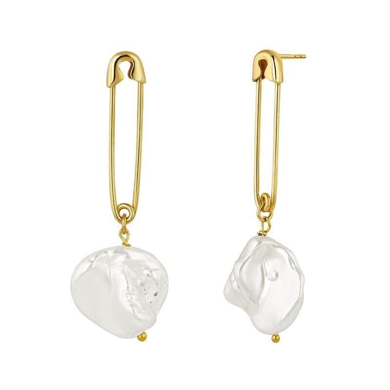Pendientes imperdible perla plata recubierta oro, J04568-02-WP, hi-res