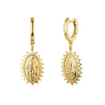 Gold plated medal earrings, J04710-02, hi-res