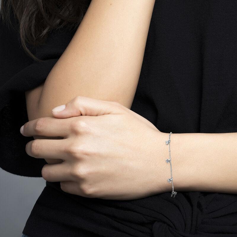 Silver lotus flower pendant motifs bracelet, J04594-01, hi-res