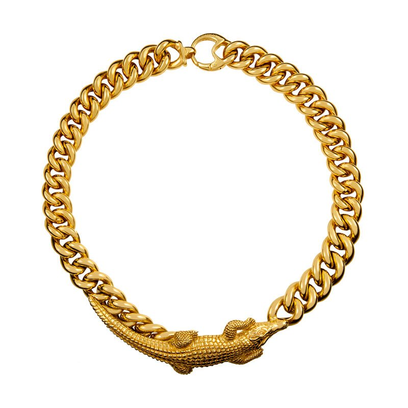 Gold plated crocodile necklace, J01502-02, hi-res