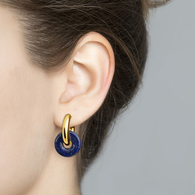 Gold plated silver lapis lazuli earrings, J04751-02-LP, hi-res