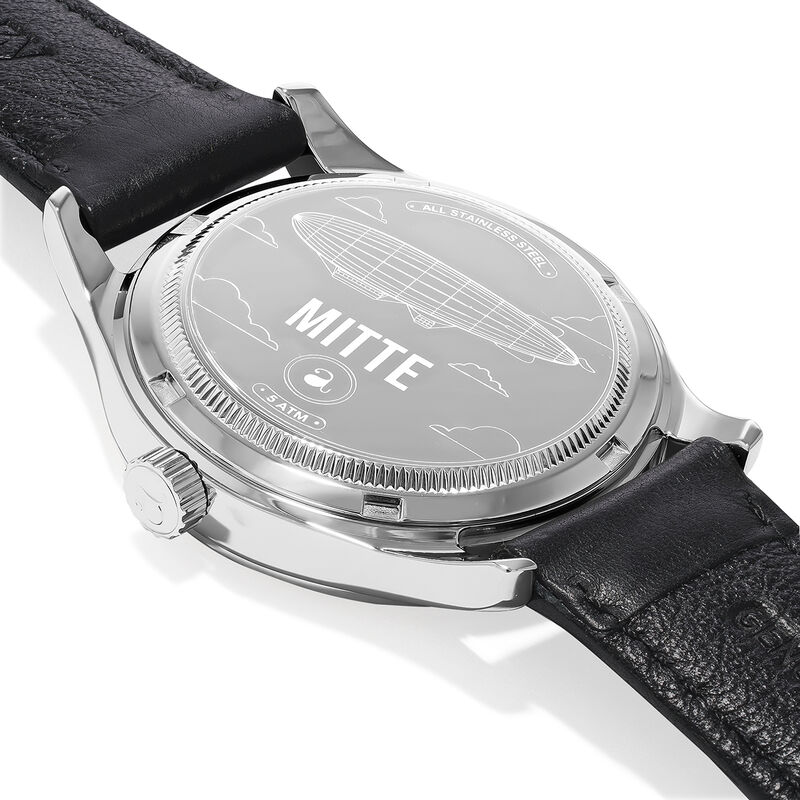 Mitte watch black crocodile strap black face, W41A-STSTBL-LEBL, hi-res
