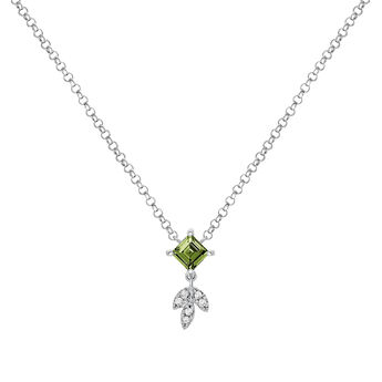 Silver Green Tourmaline Leaf Necklace, J03717-01-GTU, hi-res