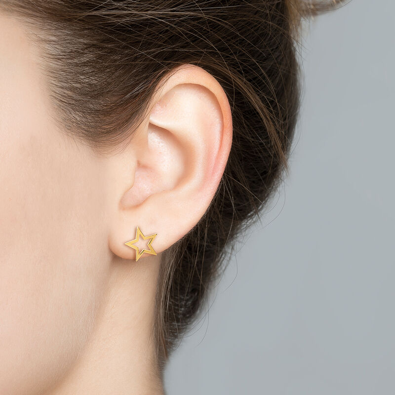Gold hollow star earrings, J01895-02, hi-res