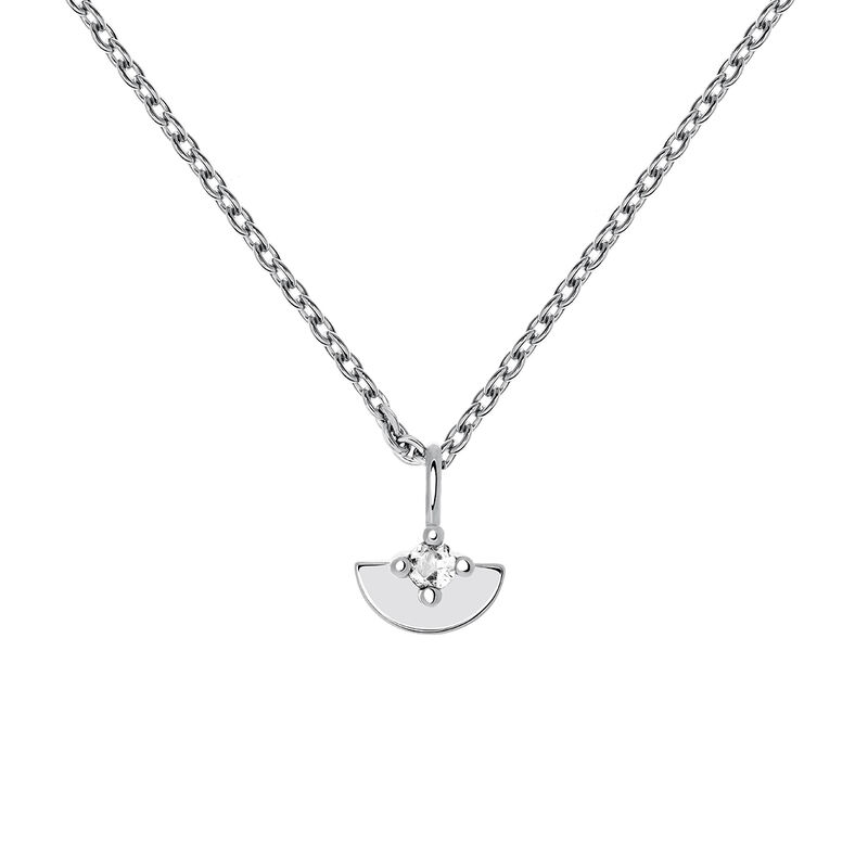 Silver topaz semicircle necklace, J03745-01-WT, hi-res
