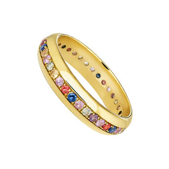 Medium gold sapphires ring, J04104-02-MULTI, hi-res