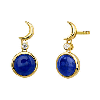 Gold moon gemstone earrings, J03991-02-LPS-WT, hi-res