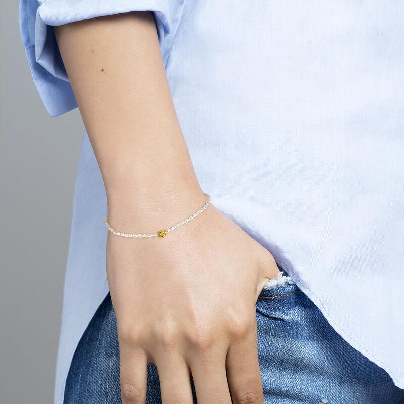 Bracelet motif fleur perle argent plaqué or, J04470-02-WP, hi-res
