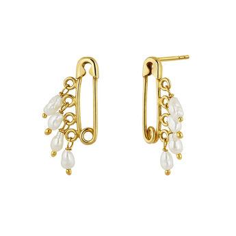 Pendientes imperdible perlas plata recubierta oro, J04567-02-WP, hi-res