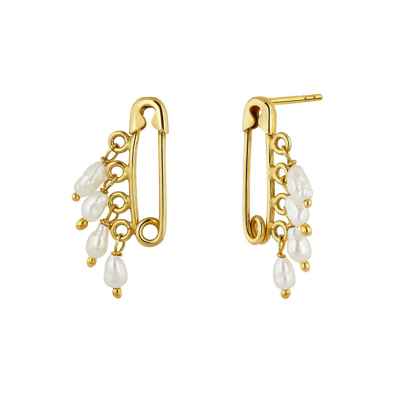 Gold plated pearls safety pin earrings, J04567-02-WP, hi-res
