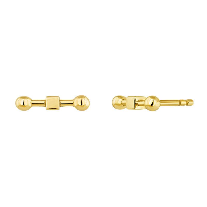 Boucles d'oreilles barre piercing argent plaqué or, J04331-02, hi-res
