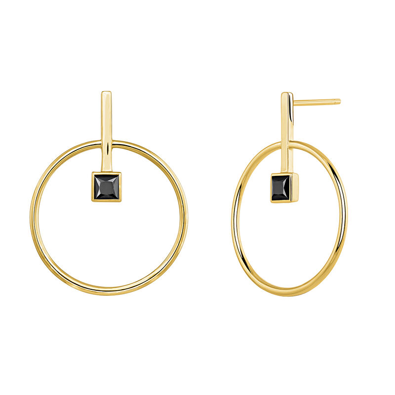 Circular earrings with spinel gold