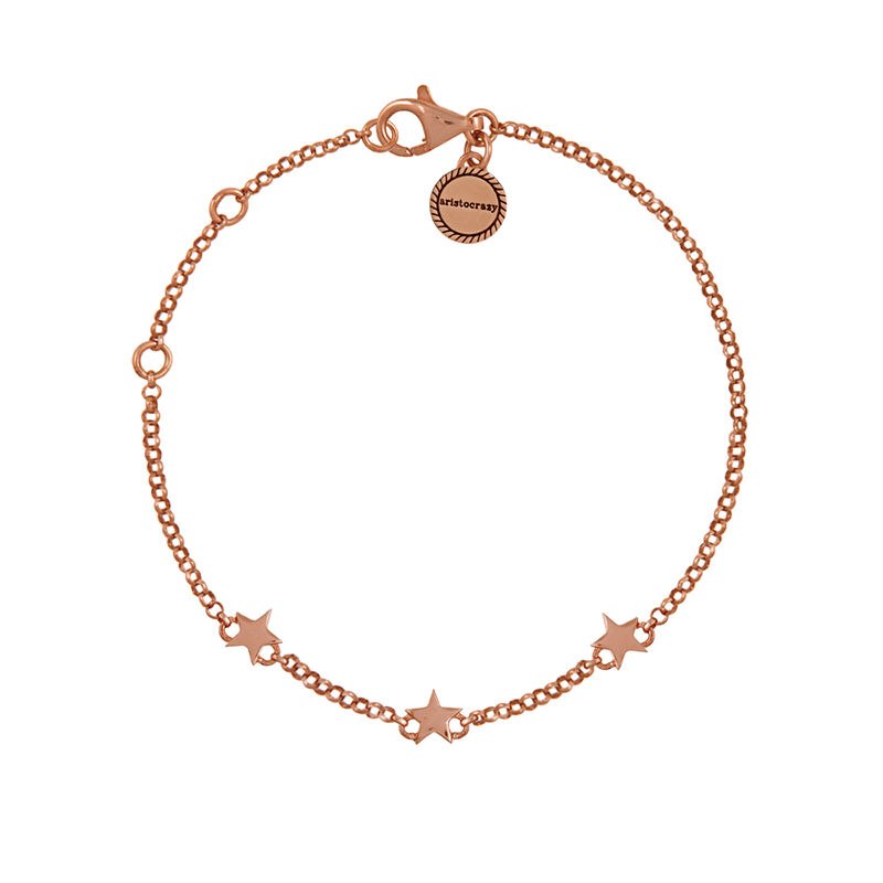 Mini rose gold plated stars bracelet, J01898-03, hi-res