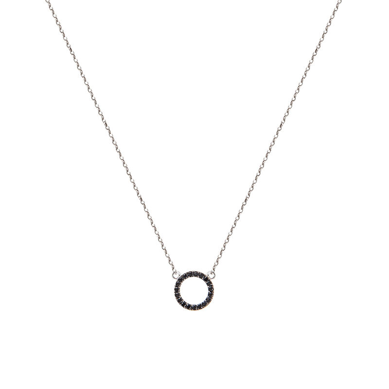 Silver circle necklace with spinels, J01623-01-BSN, hi-res