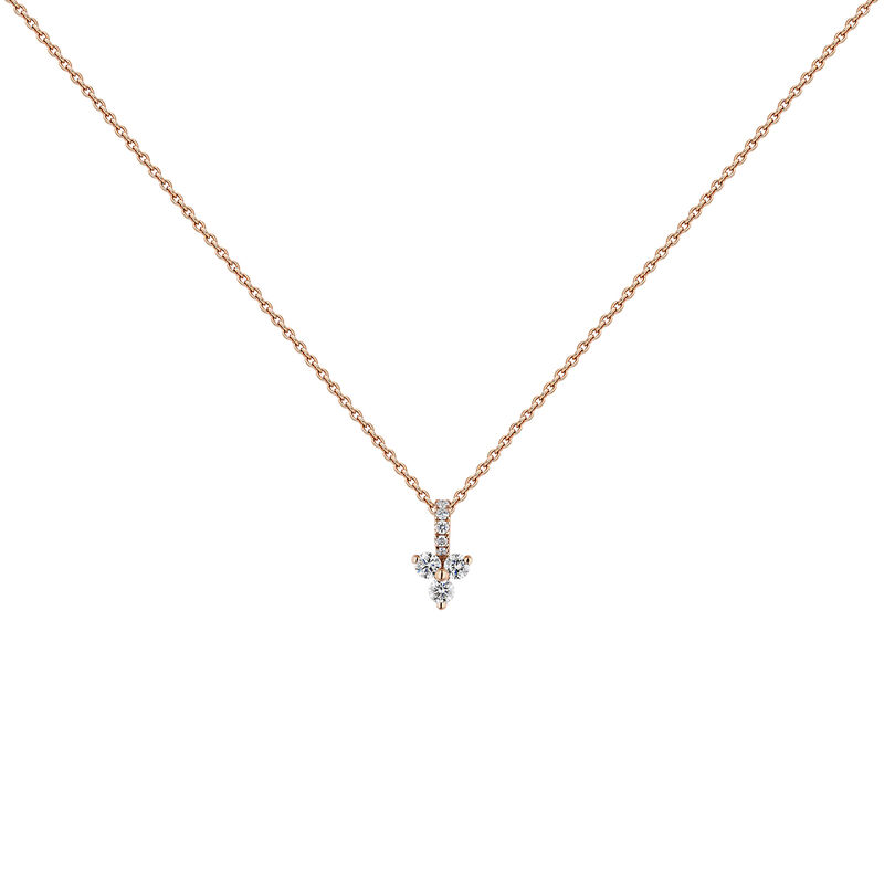 Pink gold diamonds and diamonds clover necklace, J04430-03, hi-res