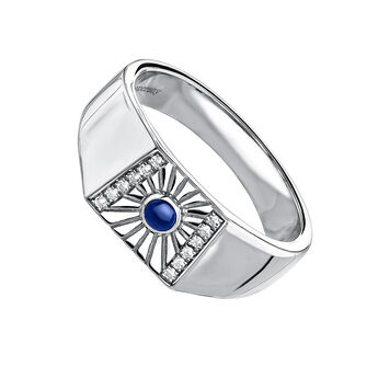 Silver signet ring with topaz and lapislazuli, J04135-01-WT-LPS, hi-res