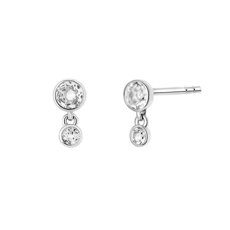 Silver topaz earrings, STERLING SILVER, hi-res