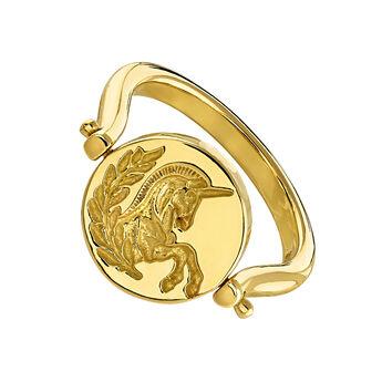 Anillo sello rotativo unicornio lira oro, J04190-02, hi-res