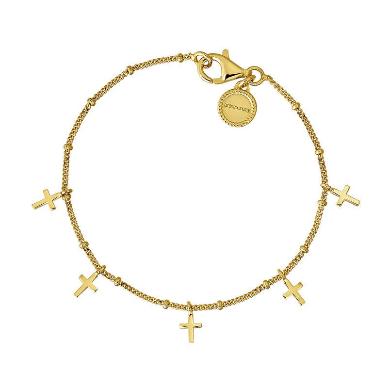 Gold plated silver multi cross bracelet, J04864-02, hi-res
