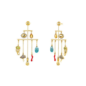 Large gold plated statement earrings, J04294-02-CQWT-EN, hi-res