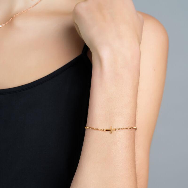 Pulsera cruz plata recubierta oro rosa, J00871-03, hi-res