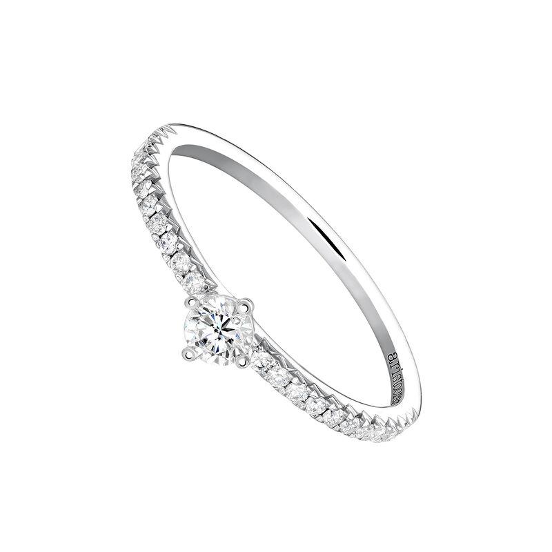 White gold single border ring 0.17 ct. diamonds, J03933-01-15-17, hi-res