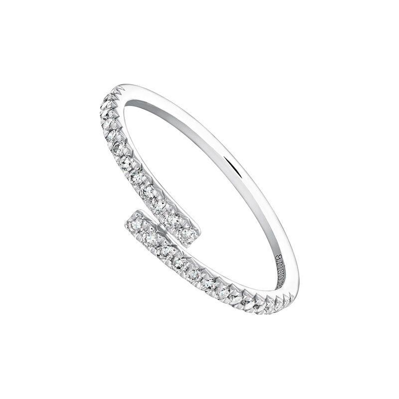 Bague ouverte diamants 0,17 ct or blanc, J04005-01-17, hi-res
