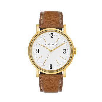 Montre Brooklyn bracelet cuir cadran blanc, W45A-YWYWWH-LECA, hi-res