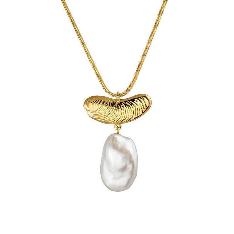 Large gold pearl sculptural necklace, J04058-02-WP, hi-res